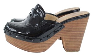 Coach Black Patent Leather Backless Heel Mules