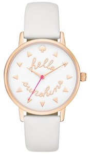 Kate Spade Women's Metro Hello Sunshine White Leather Watch KSW1089