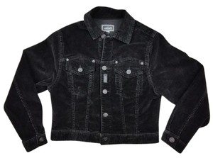 Versace Spring Childs Youth Italian Sporty Black Womens Jean Jacket