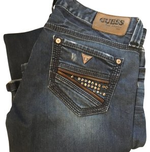 guess tight fitting studed jeans Top denim with studs and zipper