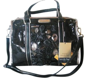 Nicole Lee Faux Lether Jeweled Satchel in Black
