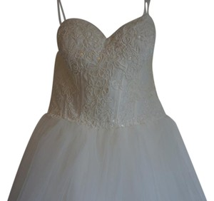 David's Bridal Strapless Lace Corset Bodice With Ball Gown Wedding Dress