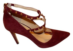 Banana Republic T-straps Gold Studs Burgundy Pumps