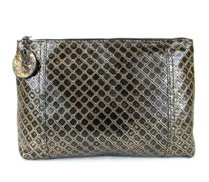 Bottega Veneta Intrecciomirage Leather Gold/Black Clutch