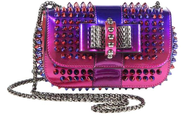 Item - 'sweety Charity Scarab Spike' Clutc Pink/Purple Silver Iridescent Pewter Patent Leather Cross Body Bag