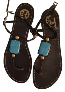 Tory Burch Turquoise Gold Embellished Brown Sandals