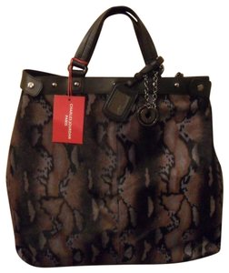 Charles Jourdan Rita Leather Snake Print Tote in Brown 753603cee5bd4