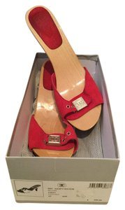Chanel Wood Box Red Mules