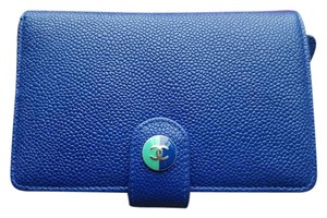 Chanel Chanel Blue Green Caviar Sevruga L-Zip Zippy Pocket Wallet