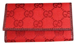 Gucci GUCCI GG Canvas/Leather Key Chain/ Holder w/Box Red 260989 6485