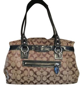 Coach C Gold Hardware Chunky Luggage Tag Iconic Satchel in Brown Signature
