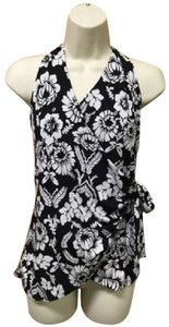White House | Black Market Floral Halter Black & White Halter Top