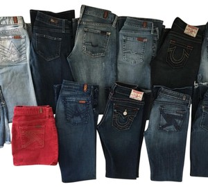 HUGE LOT 7 For All Mankind, True Religion DESIGNER Denim Jeans & Skirt SIZE 26/0 Boot Cut Jeans-Dark Rinse