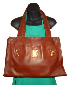 Paloma Picasso Leather Vintage Tote in Brown