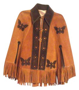 70's Vintage Leather Cape Fringe Bohemian Cape