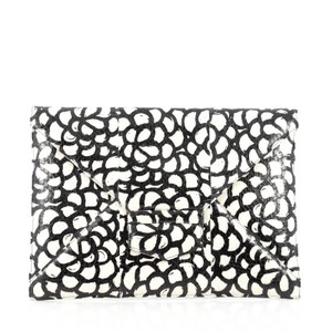Oscar de la Renta Snakeskin Black and White Clutch