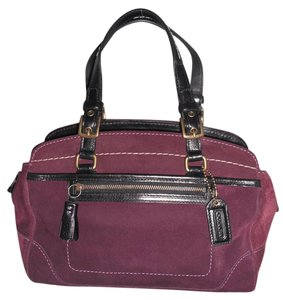 Coach Suede Leather #7474 Satchel in Mauve Purple