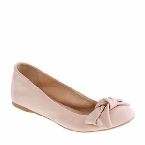 J.Crew Leather Bow Pink Riviera Sand Flats