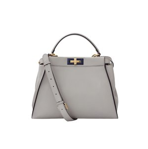 Fendi Peekaboo Medium Leather Tote in Grey