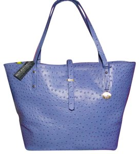 Brahmin All Day Blue Normandy Ostrich Emb Leather Tote in Chambray Blue