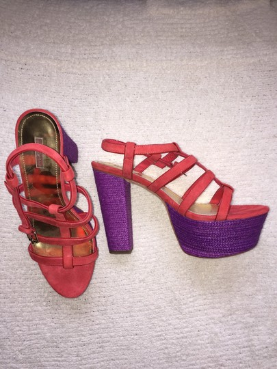 Report Signature Jeffrey Campbell Chunky Heel red and purple Platforms