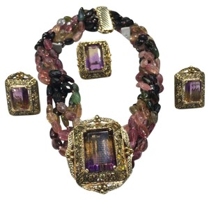 Other About 70ct Ametrine 18K Gold/ Tourmaline Antique and Rare Piece