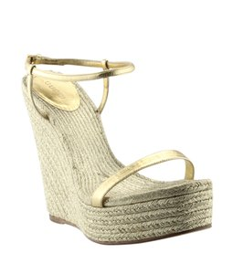 Gucci Gg Sandals Gold Wedges