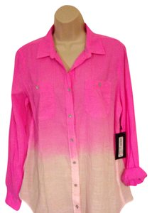 Other Nwt & Gauze Large 100% Cotton Button Down Shirt Hot Pink & White
