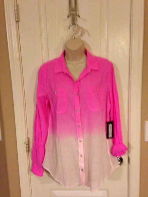 Hot pink white stylus ombre button down top size 12 l for Gauze button down shirt
