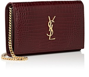 Saint Laurent Woc Wallet Ysl Croc Burgundy Shoulder Bag