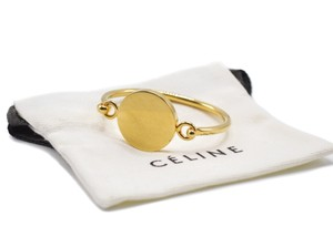 Céline Celine Womens Gold-tone Circle Cuff With Hinge Closure