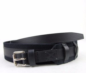 Gucci GUCCI Leather/Fabric Belt with Square Buckle 100/40 341744 4164