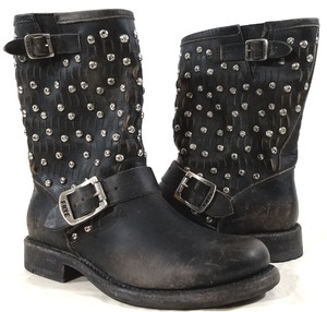 Frye Style #76346 Hammered Studs Slit Leather Detail Antiqued Buckles Made In Nexico Black Boots