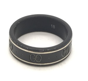 Gucci #4679 Black GG Guccissima Ring White Gold trim