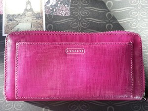Coach * Coach Saffiano Leather Zip Around Accordian Wallet Darcy Fushia