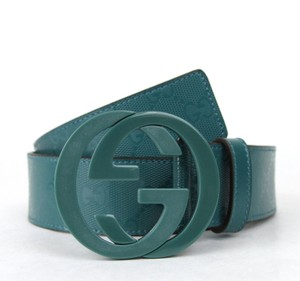 Gucci GUCCI Imprime Belt w/Interlocking G Buckle Teal 80/32 223891 4715