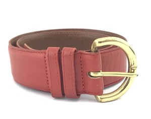 Coach #5341 Large Gold Polished Wide Red leather Belt Size small