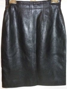 Evan Davies Leather Lined Pencil Skirt Black