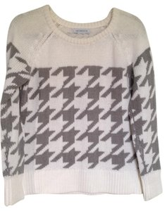 Liz Claiborne Houndstooth Relaxed Gray Sweater