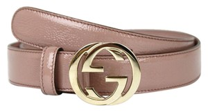 Gucci Belt w/Interlocking G Buckle Light Pink Patent 105/42 114874 6812