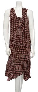 Brown, pink, various pattern Maxi Dress by Mayle Medium Silk Drop Waist