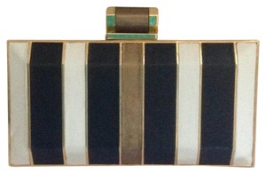 Halston White, Black, Gold Clutch