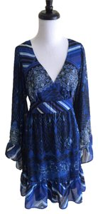 Betsey Johnson short dress Blue Ruffle Floral Print Longsleeve on Tradesy