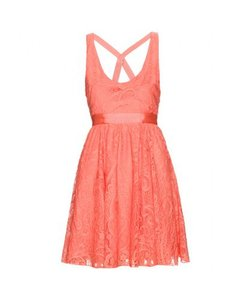 Alice + Olivia short dress Coral Lace Overlay Sleeveless Crisscross Strap on Tradesy