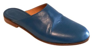 Martiniano Slide Leather Flat New Designer Peacock Blue Mules
