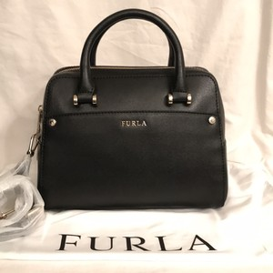 Furla Leather Cross Body Small Satchel in Black