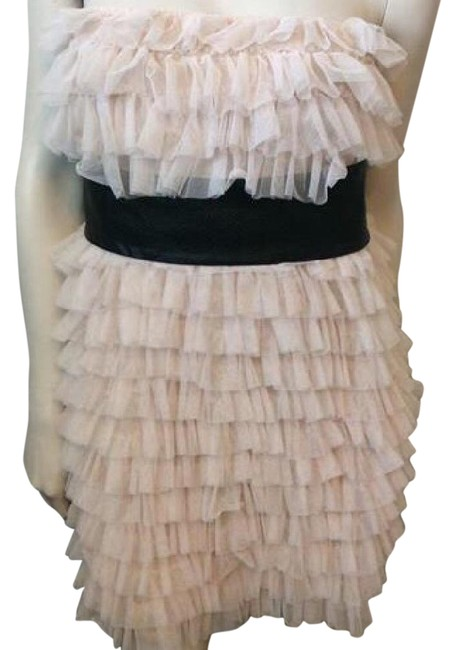 Item - Cream Ruffle Above Knee Night Out Dress Size 12 (L)