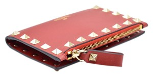 Valentino Valentino Womens Rockstud Leather Red Wallet cardholder Pouch