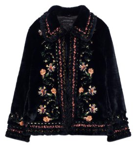 Zara Vintage Floral Embroidered Faux Fur Winter Fur Coat