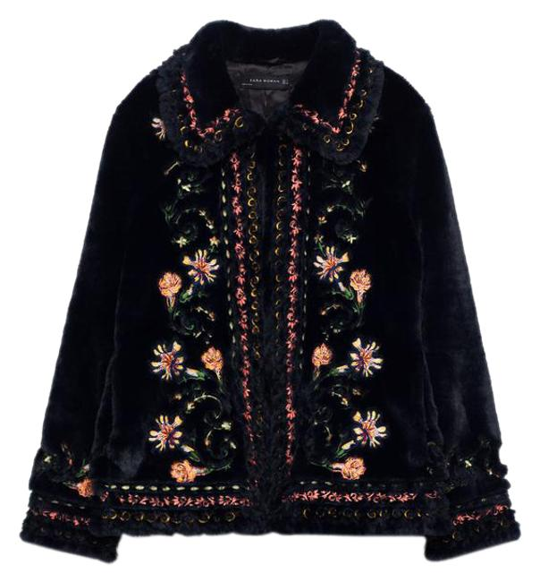 Item - Navy Blue New Tags Embroidered Floral Faux Jacket Coat Size 4 (S)
